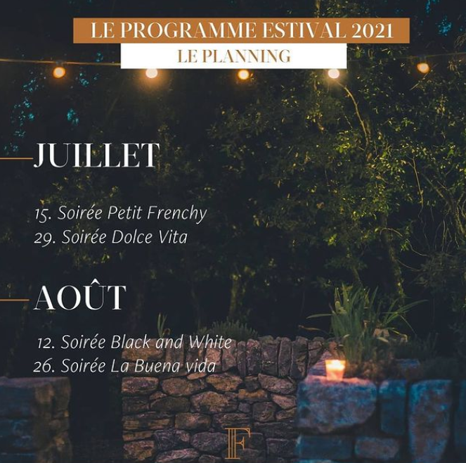 Programme des soirées d'été au domaine Fontainebleau en Provence